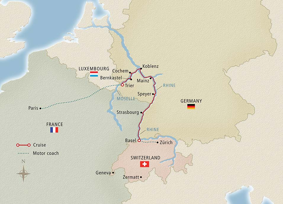 Paris to the Swiss Alps itinerary map