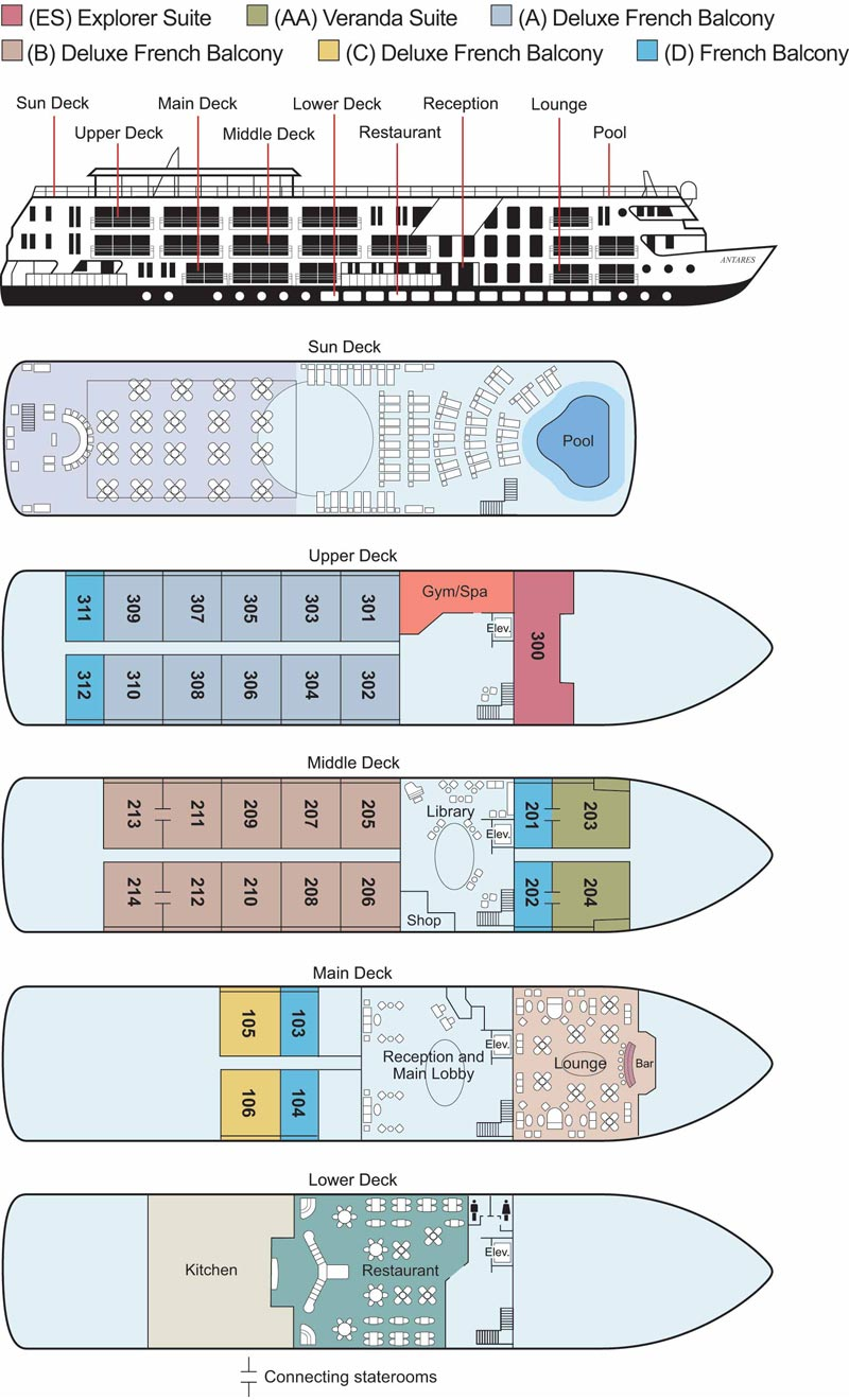 Interactive deck plan for MS Antares ship