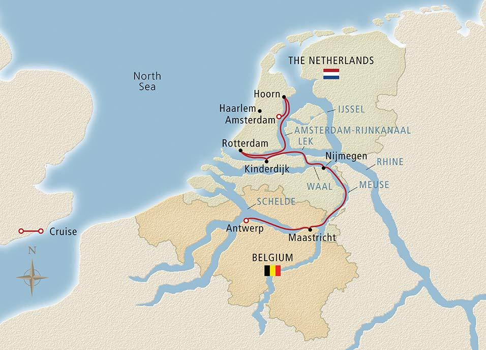 Holland belgium in bloom amsterdam antwerp river cruise viking map gumiabroncs Gallery