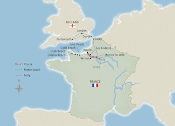 Paris & D-Day 75th Anniversary Map