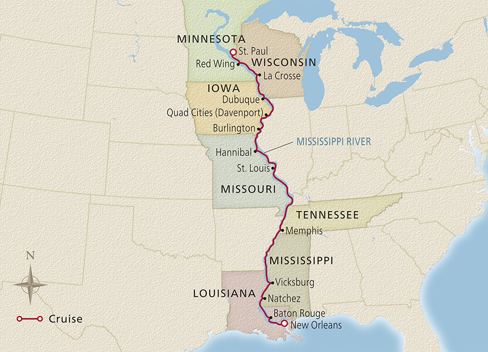 Map of the Americas Great River itinerary