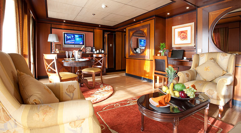 Explorer Suite seating area on MS Antares