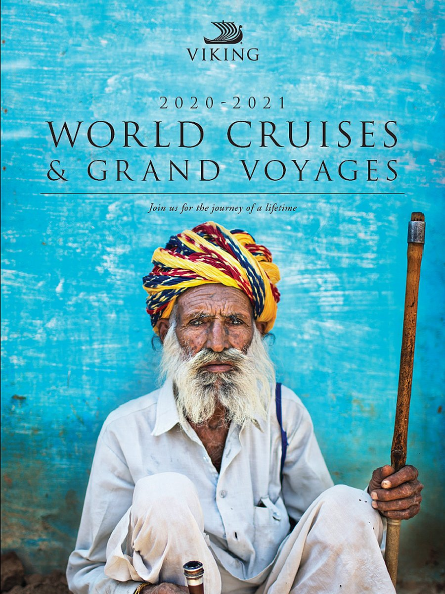 Photo of Viking Cruises Brochure with big texts - World Cruises & Grand Voyages