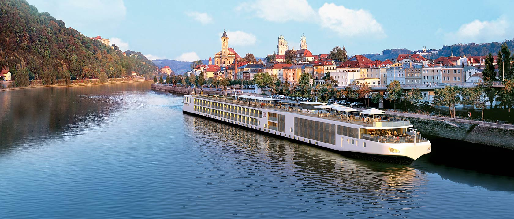 Viking river ship sailing past Passau, Germany
