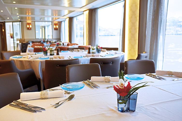 Restaurant dining area on board Viking Longship