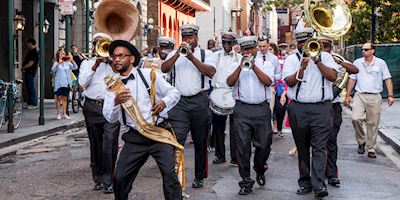 Street band on parade in New Orleans