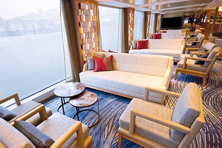 The Observation Lounge on a Viking river ship