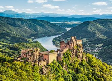 Aerial view of Aggstein Castle above the Danube river in Wachau, Austria