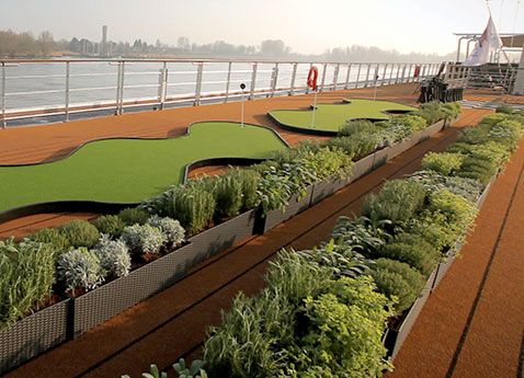 The herb garden on top of a Viking river ship