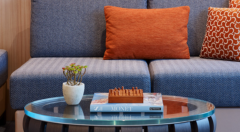 Close up view of a coffee table in the living room of a Veranda Suite