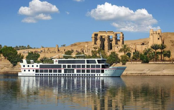 Viking Ra sailing past ruins on the Nile