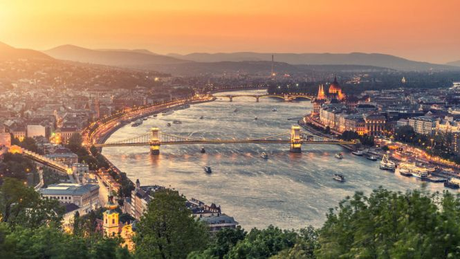 Aerial shot of Budapest, Hungary at dusk