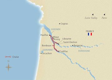 Chateaux, Rivers & Wine' itinerary map from Viking Cruises