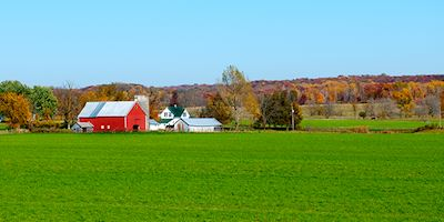 Red barn on Midwest farmland