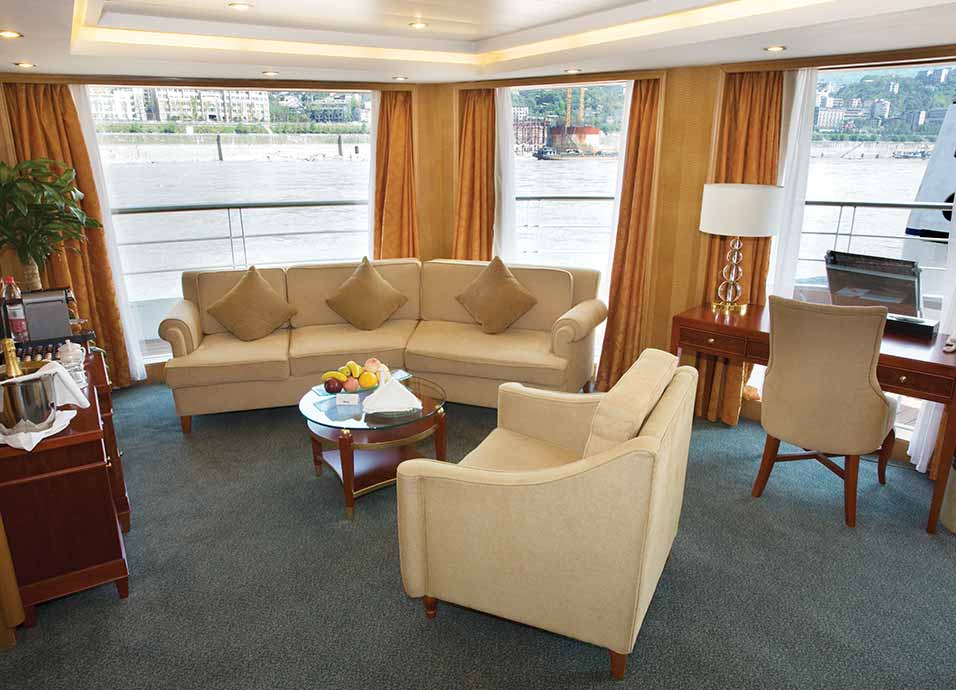 Seating area of Explorer Suite on board Viking Emerald