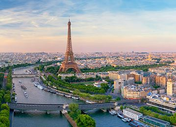 Aerial view of the Eiffel Tower and the rest of Paris