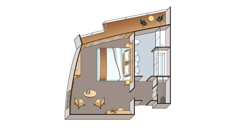 Junior suite floorplan on Viking Rurik