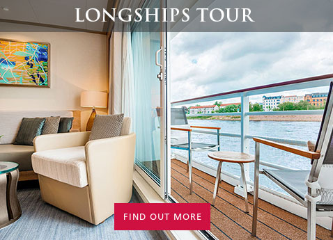 "Photo of Viking Longship stateroom interior and balcony, with tables and chairs; overlaid with header text ""Longships Tour"" and action text ""Find out more"""