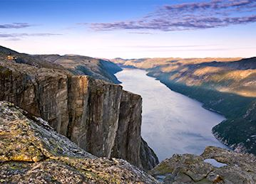 Golden hour view of Lysefjord and cliffs near Stavanger, Norway