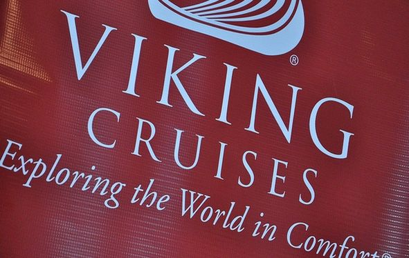 Viking Cruises logo on red vinyl