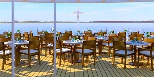 Tables and chairs on the Aquavit Terrace of a Viking river ship