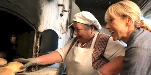 Karine Hagen baking bread in Portugal